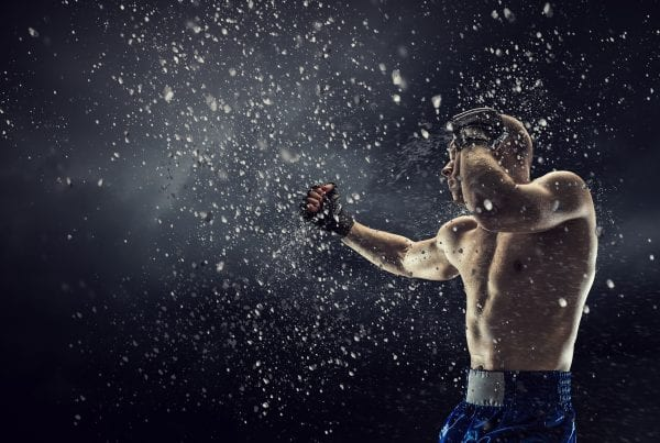 Boxer in boxing class